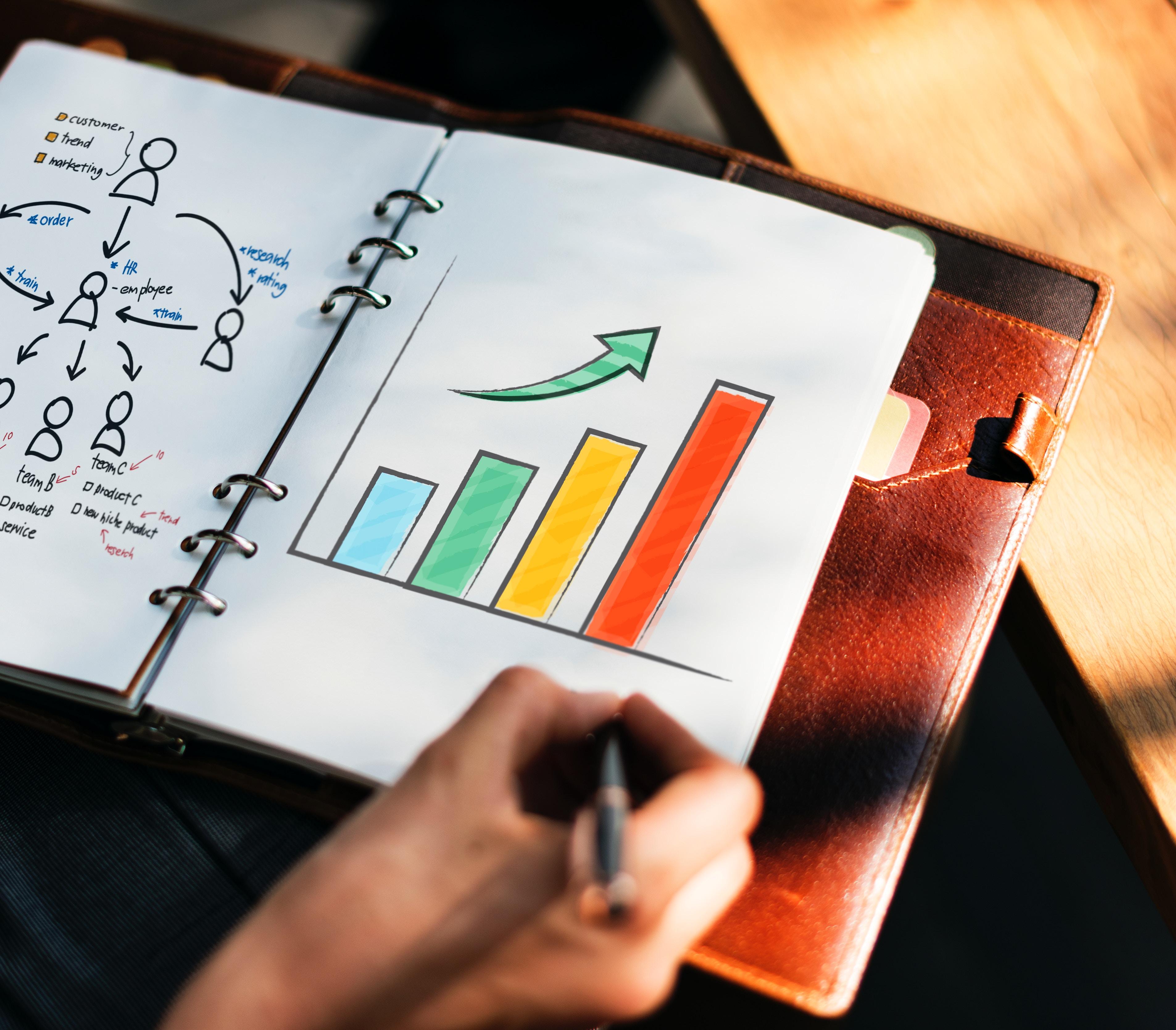 a binder with a bar graph going upward.